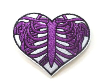 Purple Rib Cage Patch, Heart Shaped Iron on Patch, Skeleton Patch, Rib Cage Iron on Patch