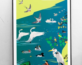 The Birds of London Art Print - Regent's Park London Illustrated poster - Fine Art Giclee Prints - Housewarming Birthday gifts for Londoners