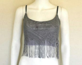 Purple grey lace fringed cropped backless top