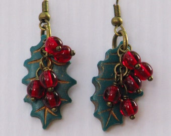 Holly Green and Red Earrings - red green berries holly polymer artisan earrings christmas unique handmade