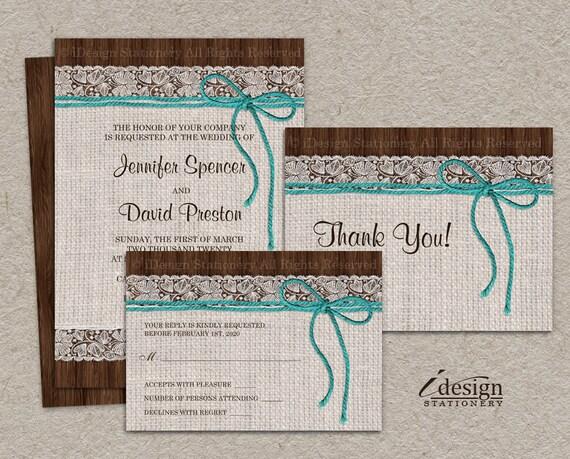 Wedding Invitations Turquoise: DIY Printable Rustic Turquoise Wedding Invitation Sets With