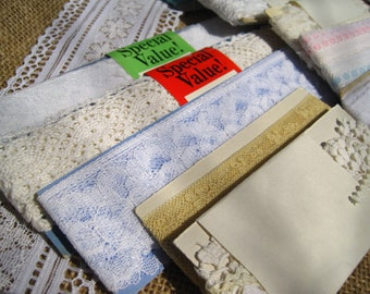 Vintage Lace, Piping and Various Trim – 25 Packages Both Sealed and Unsealed New and Used – Assorted Brands and Colors