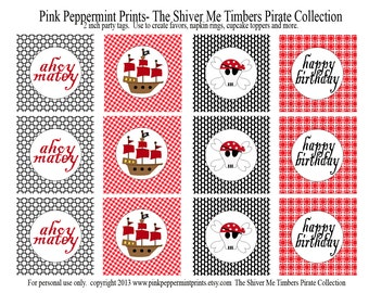 NEW INSTANT DOWNLOAD The Shiver Me Timbers Pirate Collection Printable 2 inch Party Circles Tags