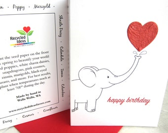Plantable Elephant Birthday Card - Flower Seed Paper Birthday Card - Happy Birthday Card - Plantable Paper Elephant Birthday Card