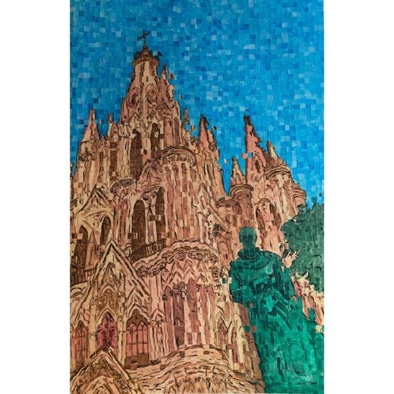 """San Miguel de Allende, Mexico - Parroquia de San Miguel Arcangel - Architectural Art: 24""""x36"""" Original Painting"""