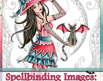 Adult Coloring Book - Printable Coloring Book - Halloween Coloring Book - Digital Download - 20 Witch Images to Color - by Nikki Burnette