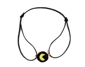 Bracelet brodé lien Lune