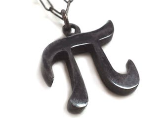 Silver Pi Necklace - Black Pi Necklace - Pi Necklace - Geek Necklace - Pi Day - Pi Jewelry - Pi Symbol Necklace - Yay Science! - 314