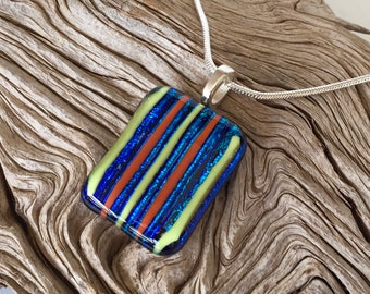 Dichroic Blue Fused Glass Pendant Necklace - Orange and Yellow Stripes - Fused Glass Jewelry - Handmade Glass Jewelry