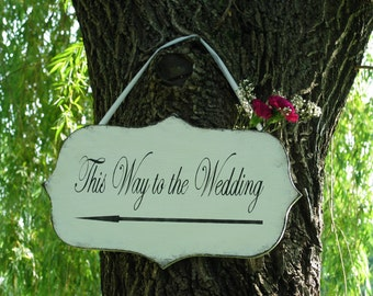 BRIDAL WEDDING sign with ARROW vintage inspired shabby beach wedding