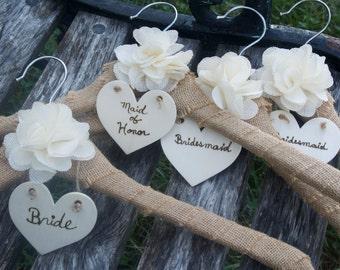 Burlap Rustic  Wedding Dress  Hangers, 4