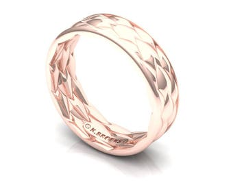 Dragon Scale Wedding Band in Rose Gold