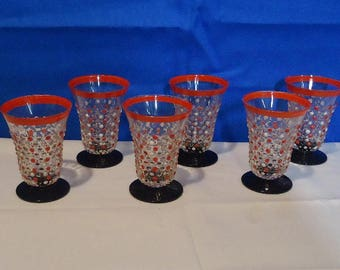 012418 01 A Grand Set of 6 Czechoslovakian Orange and White Polka Dot Black Footed Cordial Glasses