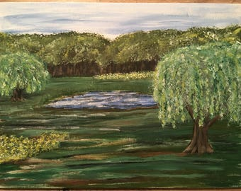 Willows and Pond