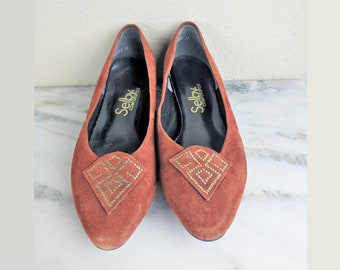 1970s Orange Suede Shoes, Sienna Burnt Orange Leather Shoes with Gold Geometric, Womens Vintage Low Heel Flat Slip Ons, Size 8, Selby