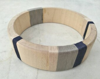 Wooden bracelet - vintage reclaimed - sustainable jewellery - eco friendly gift - gift boxed bangle - handmade bangle - vintage thread