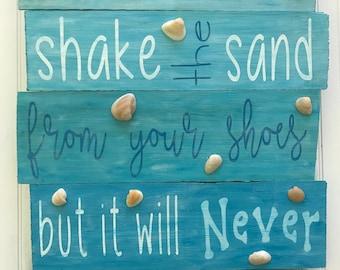 Beach Signs, Beach Decor, Beach Theme, Ocean Theme, Beach Wedding Sign, Beach Home Decor, Beach House Signs, Shake the Sand