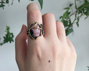 One-of-a-Kind Lace Rhodonite and Emerald 0.925 Oxidized Sterling Silver Ring | Size 6.25 | Healing Ring