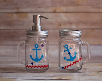 Set of TWO Glass Mason Jars with Anchor Designs