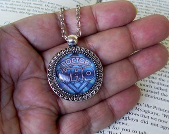 Doctor Who Pendant (N624) Necklace, Blue Logo, Silver Framework and Chain