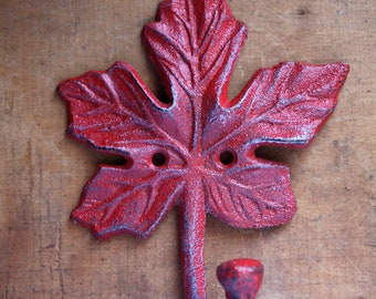 Red Maple Leaf Coat Hook
