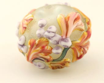 Hollow Lampwork Glass Bead, Etched Matte,  with Lavender and Peach Flowers  'Kissing Ball'