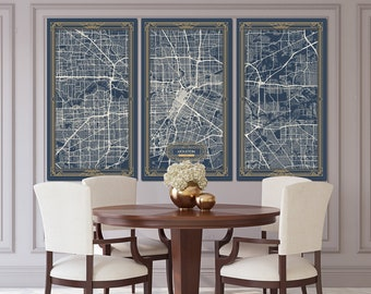 HOUSTON Texas Map Art Deco Canvas Print Map Wall Art Canvas Print Ready To  Hang For