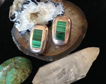 Mothers Day gift  Earrings Stud earrings TAXCO Earrings Malachite Earrings Mexico Silver 925 Sterling Silver Earrings TAXCO 925 Earrings