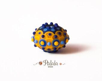 Focal lampwork matted bead, lampwork scales bead, Artisan lampwork bead