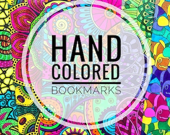 Hand Colored Colorful Zentangle Bookmarks