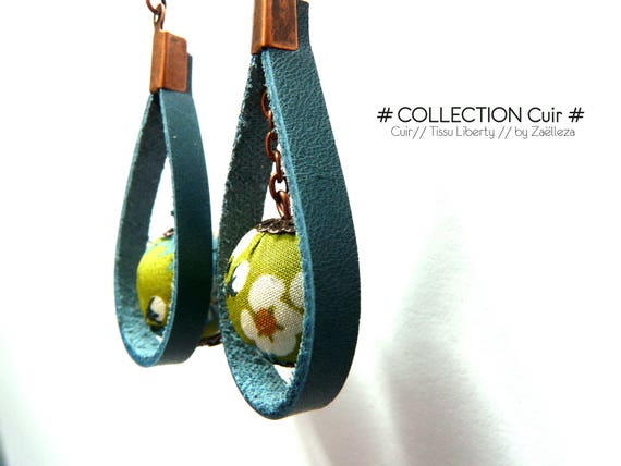 """Earrings """"blue leather / bead in green cloth Liberty ref128 - Nature forest Ocean floral country Bohemian London"""""""