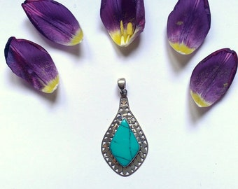 Turquoise Pendant Sterling Silver pendant. 925 silver turquoise necklace. Silver fashion jewelry. Trending jewelry. Jewelry for her