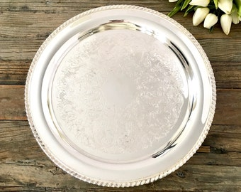RESERVED ~~~ Round Silver Footed Platter, Rogers Silver Cake Plate Platter, Shabby Chic French Decor,  French Farmhouse Decor
