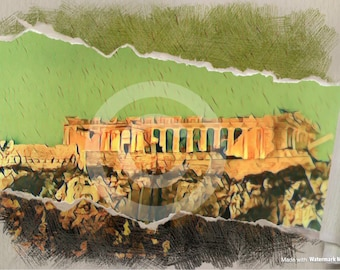 Original Photography of Parthenon on the Acropolis in Athens Greece printed on canvas
