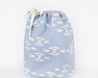 Drawstring Bag with Waterproof Lining in Blue Haze, Knitting Project Bag, Drawstring Pouch by Made on Main VT