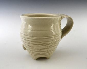 Creamy Lines White Mug, Creamy Mug, Footed Mug, White Pottery Coffee Cup, Coffee Mug, Creamy Pottery Mug, gift for her, gift for him