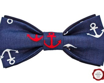 Bow tie / bowtie / Fabric bow tie / Marine bow tie / anchor bow tie / blue bow tie / gift for him