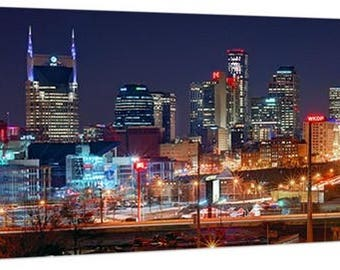 CANVAS Nashville Skyline 2018 NIGHT Panoramic Photo Print Cityscape