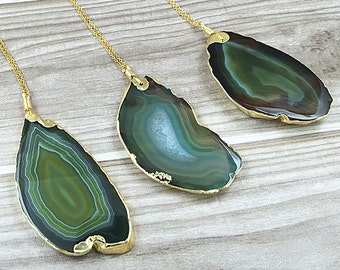 Super Large Green Agate Slice Druzy Pendant Electroplated with Gold Edges - Drusy Druzzy Agate Slice Pendant (S2V4_14)