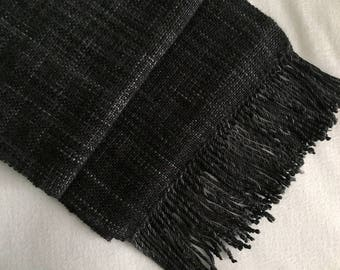 Plaiding Scarf - Handwoven - Merino, Cashmere, Silk - Black Hole