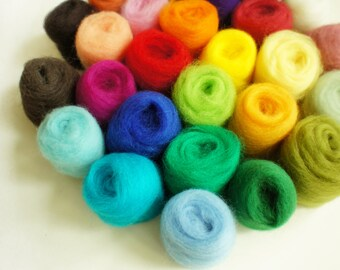 Sale - 24 Needle Felting Wool - Needle Felting Wool Platter- Wool for Felting and Spinning - READY TO SHIP