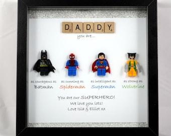 Personalised Superhero figure Frame - Batman, Spiderman, Superman, Wolverine