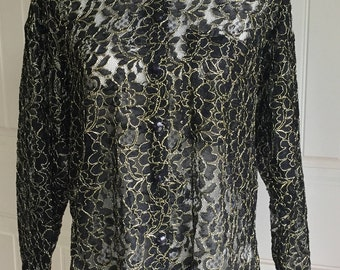 Vintage 90s Contempo Casuals Black/Gold Button Front Long Sleeve See Through Floral Women's Blouse