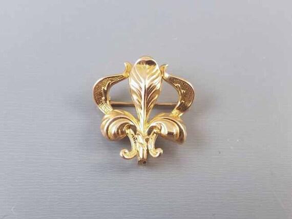 Antique Art Nouveau 14k gold iris flower fleur de lis brooch pin with hook back attachment for watch pin / lapel pin / signed Champenois