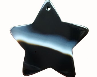 Dramatic Black Onyx Hand-Cut and Polished 5-Pointed Star Focal Bead