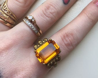 Large Square Cut Faceted Amber Glass Brass Vintage Ring