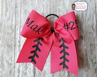 Custom Softball Hair Bows,Personalized Softball Bows,Custom Cheer Style Softball Hair Bows, Name and Number Softball Hair Bow, Softball Bows
