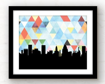 Baltimore art   Baltimore skyline print   Baltimore print   geometric print   geometric art   modern skyline prints   watercolor art