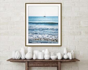 "Beach Photography - Blue Wall Art - Sailboat Print - Beach House Decor -  Nautical Wall Art ""Resting In The Bay"""