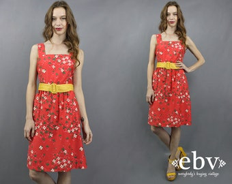 Vintage Malia Dress 1970s Sundress 70s Sundress Summer Dress Red Dress Malia Honolulu Floral Dress 1970s Dress 70s Dress Malia Sundress XS S